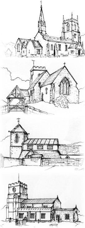 Line drawings of all four churches in benefice